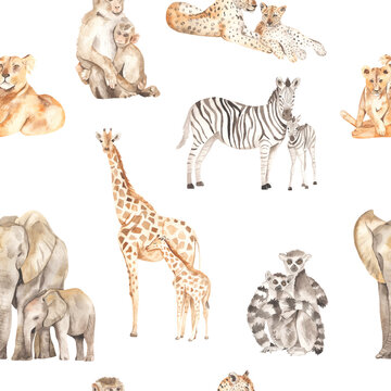 Watercolor seamless pattern mom and baby with lions, leopards, elephants, giraffes, zebras, lemurs, monkeys on a white background