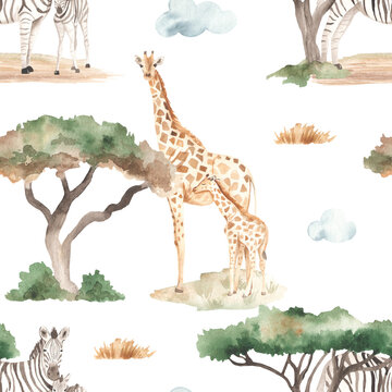 Watercolor seamless pattern of mom and baby giraffes, zebras in the African savannah with acacias and dry grass on a white background