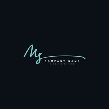 MS Initial Letter Logo - Handwritten Signature Style Logo