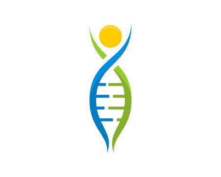 DNA helix form a people swoosh