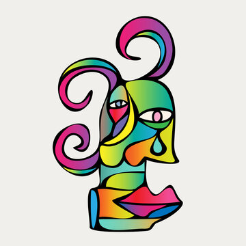 Abstract design of surreal face portrait. Hand-drawn face with a hint of cubism in funky colors. Concept art can be used for fashion, beauty treatment, health, non-gender, and mental wellbeing.