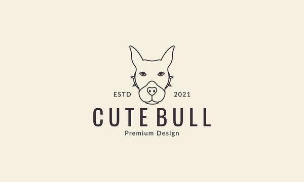 animal pets dog american pit bull terier lines head logo design vector icon symbol graphic illustration