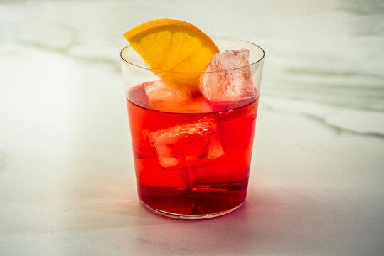 Campari Soda Aperitivo Cocktail with Orange Slice