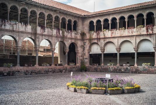 Courtyard of the Convento Santo Domingo Monastery Convent in Cuzco, Peru