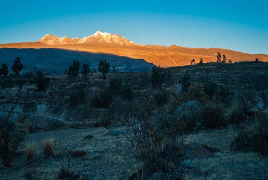 Andes Mountain Landscape near Yanque, Colca Canyon, Peru at Dawn