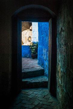 Door with Blue Walls and Old Kerosene Lamp in Santa Catalina Monastery, Arequipa, Peru