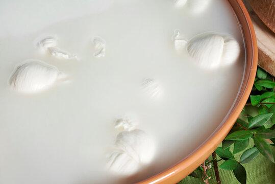 Contenitore di ceramica con mozzarelle