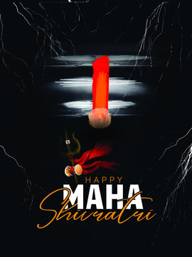 illustration of Lord Shiva for Happy Maha Shivratri with hindi text shiv, har har mahadev