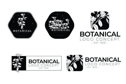 Botanical floral minimal type classical collection of logo design template