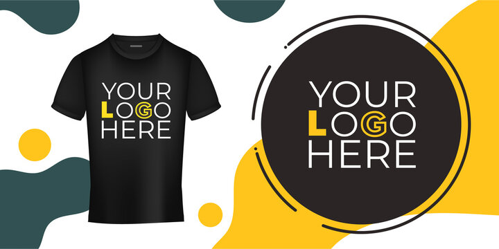 Template for design and presentation of a logo or print on a black t-shirt. Your logo on the T-shirt banner. Vector illustration.