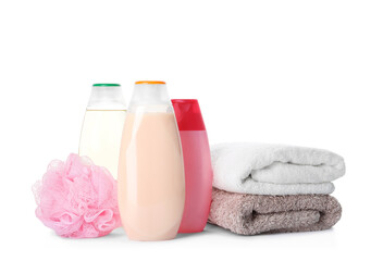 Wall Mural - Personal hygiene products, shower puff and towels on white background