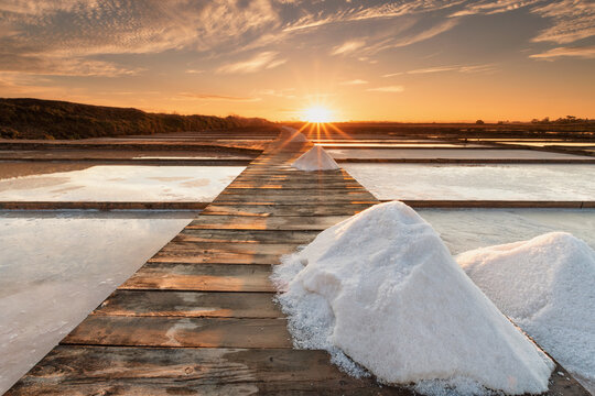Saltern, near the mouth of the Mondego river, on a summer sunrise, Colour Photo, Figueira da Foz, Portugal