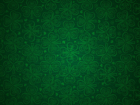 Green Patrick's Day greeting background with green clovers. Patrick's Day holiday design. Horizontal background, headers, posters, cards, website. Vector illustration