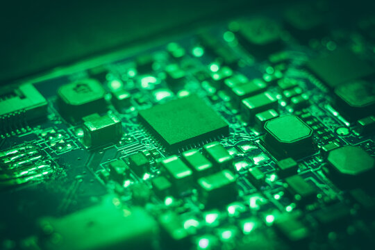 electronic circuit board. modern technology concept.