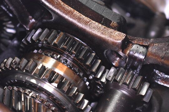 Close-up of Mini transmission internals as installed