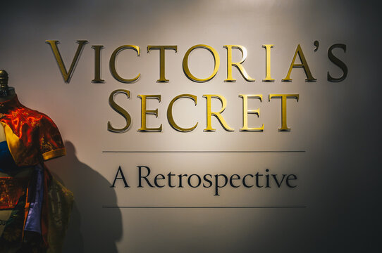 New York City, USA - March 18, 2017: Victoria's Secret store at 34th Street Herald Square. Vintage Ligerie Fashion showcase at Victoria's Secret store
