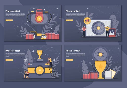 Set of Photo contest vector illustration concept landing page. web page and landing page design for website. Photography competition concept for web banner, website page. Flat style design