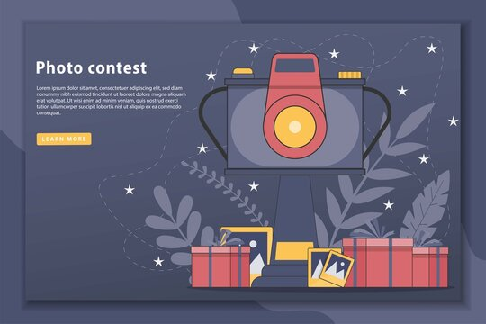 Photo contest vector illustration concept landing page. web page and landing page design for website. Photography competition concept for web banner, website page.Vector flat style design illustration