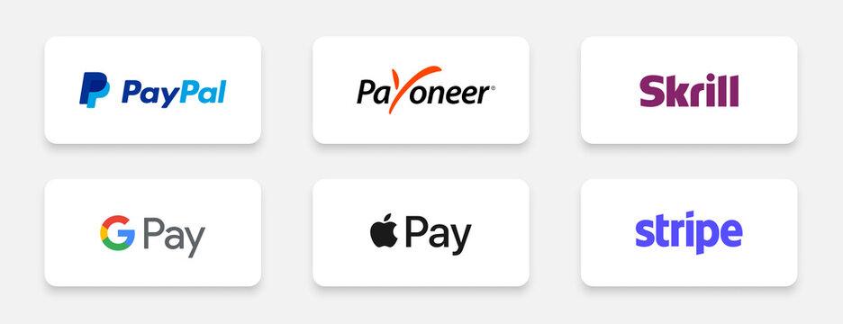 popular payment gateway brands like paypal payoneer stripe logos set