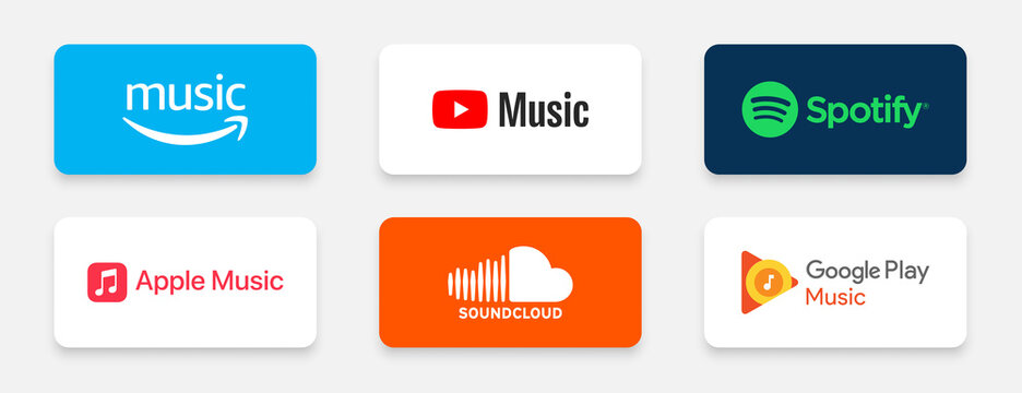 popular music songs streaming brand logos like amazon music soundcloud spotify and more