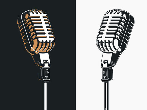 Live on stage open microphone drawing, transparent background clipart illustration