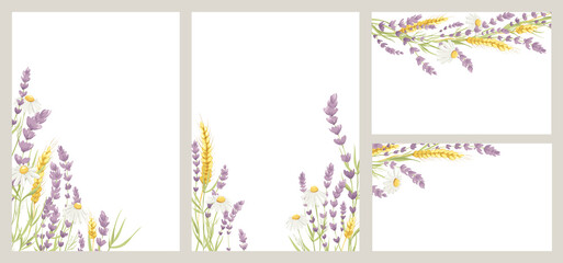 Fototapeta Birthday or Wedding invitation cards. Vector design element, wreaths of lavender, chamomile and wheat ears, medicinal herbs, calligraphy lettering. obraz