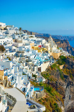 Fira town on the rocky coast of Santorini Island in Greece