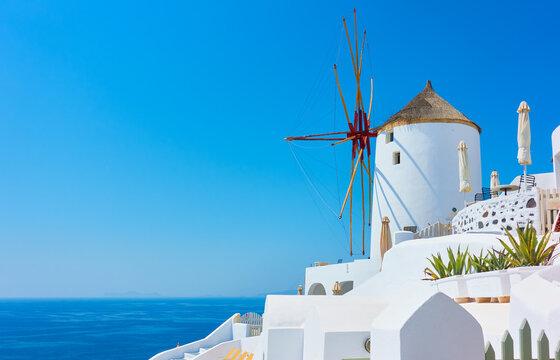 Windmill by the sea in Santorini in Greece