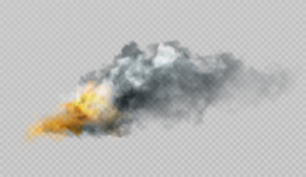 Realistic smoke and fire shapes on a black background. Vector illustration