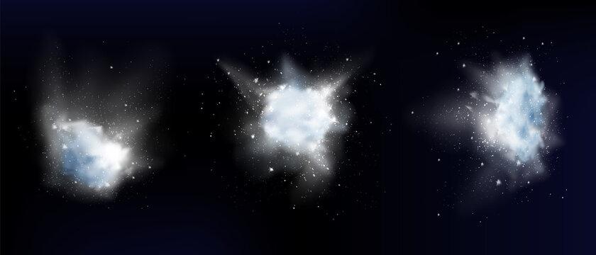 Snow powder white explosion or snowflakes clouds
