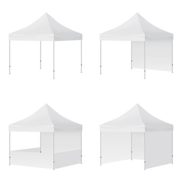 Display Tents Mockups with Side Views Isolated on White Background. Vector Illustration