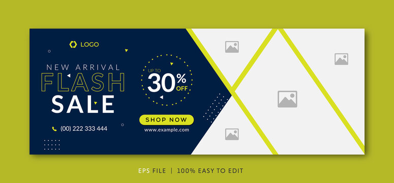 Flash sale facebook cover page timeline web ad banner template with photo place modern layout dark blue background and green shape and text design