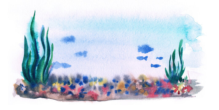 Watercolor landscape inside aquarium. Thick green algae, colorful rocky bottom, blurry silhouettes of fish swimming around in pure blue water. Hand drawn illustration of underwater life