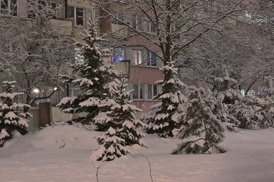 A housing estate covered with deep snow in Lubelski Czechów