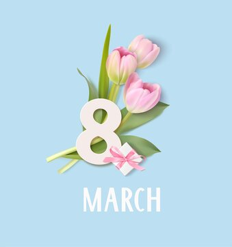 Happy Womens Day. 8 March design template. White number 8 with decorative gift box and pink tulip flowers. Vector illustration