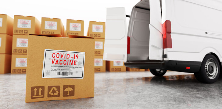 Coronavirus Covid-19 vaccine transport, shipping and delivery