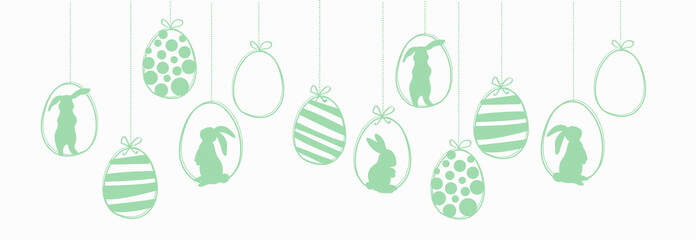 Happy Easter garland witk easter eggs and rabbits. Ilustration vector