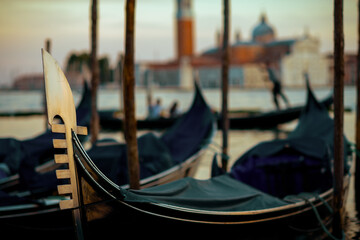 detail shot with gondola in Venice, Italy