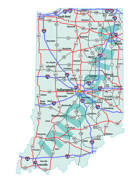 Vector map of the state of Indiana and its Interstate System.