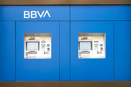 ATM machines of Bank BBVA in the city.Detail of BBVA office
