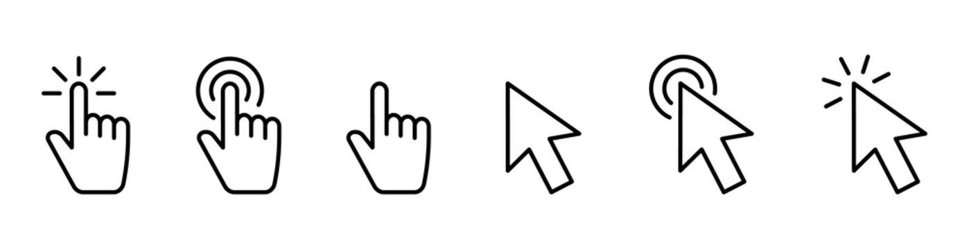 Hand pointer icons. Pointer click. Cursor arrow icon. Clicking finger. Computer mouse click. Vector illustration.