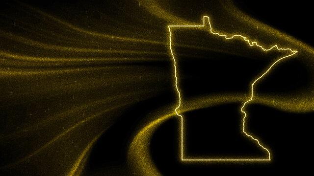 Map of Minnesota, Gold glitter map