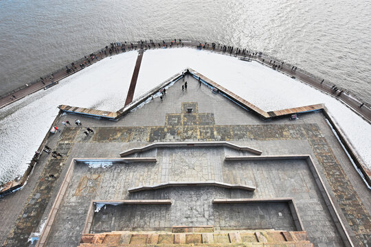 Liberty State Park seen from the Statue of Liberty, New Jersey, New York State, USA