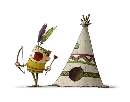 little boy with a bow and arrow dressed as an Indian is playing next to a teepee, typical house of the Indians. isolated
