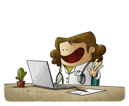 A doctor in front of a computer attends to her patients online. isolated