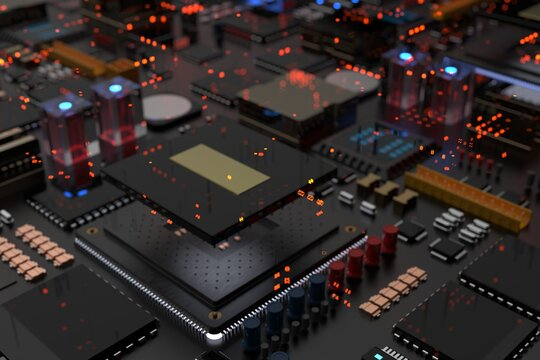 A processor chip on a motherboard is a printed circuit board with microchips, processors and other computer parts in the abstraction of the city of the future. 3d render