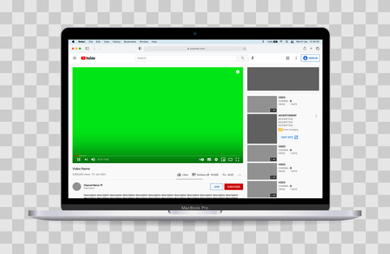 Realistic vector mockup, Apple MacBook Pro displaying safari with a fully editable YouTube video page. Transparent background.