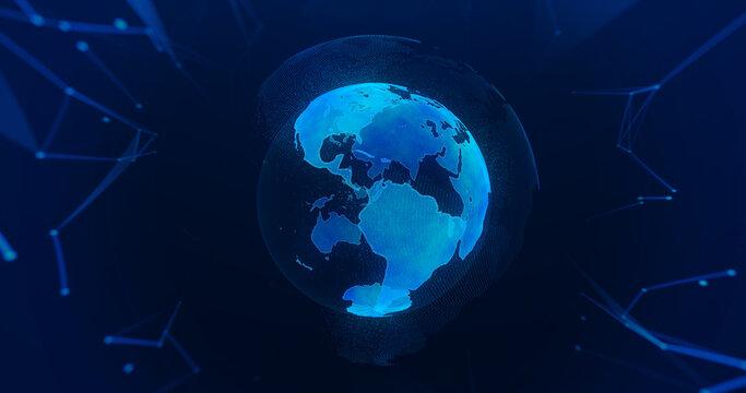 Planeta azul 3D digital tierra iluminada con partículas sobre fondo oscuro