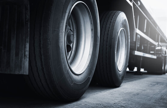 a big truck wheels and tires. semi truck parking, lorry. industry cargo freight truck transportation.
