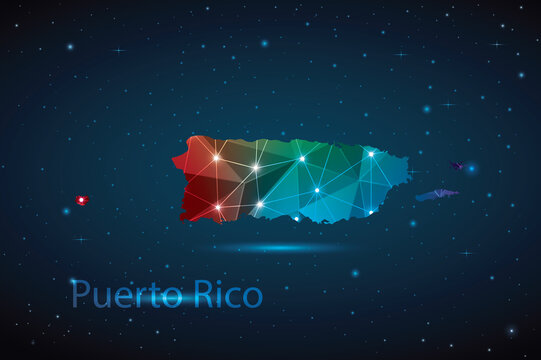 Abstract Polygon Map of Puerto Rico. Vector Illustration Low Poly Color Rainbow on Dark Background